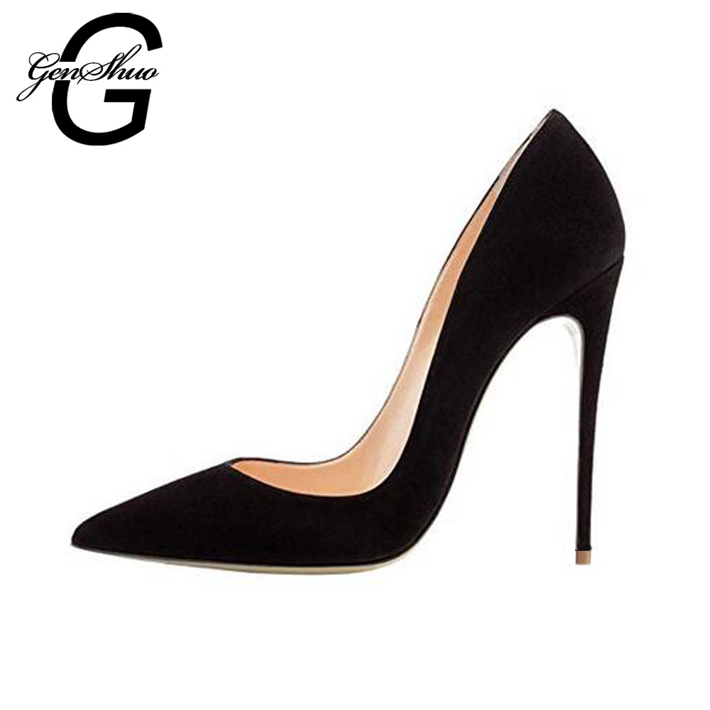 GENSHUO Shoes Women 8 10 12 cm Pointy Stiletto Heels Pumps Ladies Black Stylish Extra High