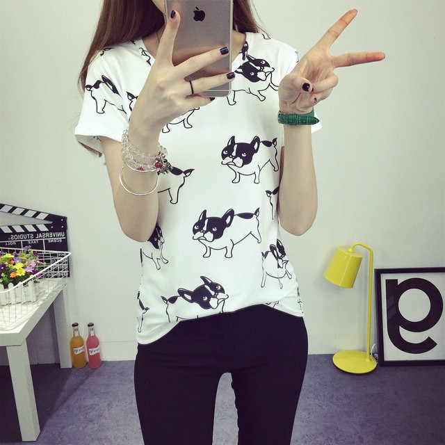 HTB1FaDaJFXXXXb0XXXXq6xXFXXX5 - 2016 casual fashion brand women summer style Tops women's Tshirts French Bulldog T Shirts camisetas femininas poleras de mujer