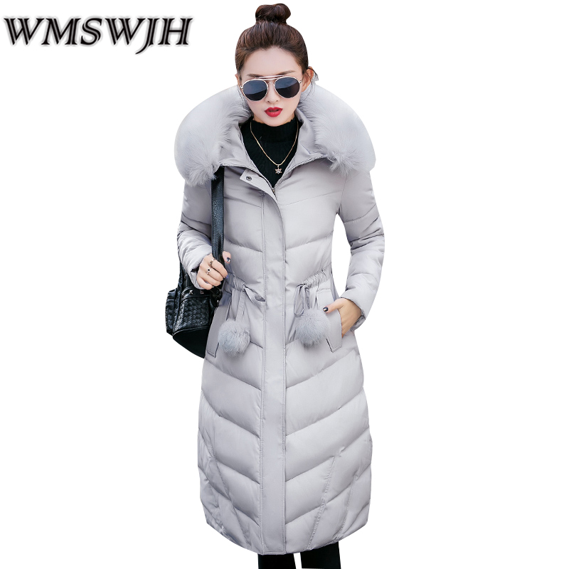 Wmswjh 2017 New Winter Jacket Women Coat Thicken Warm Windproof Long Quilted Jackets Female Hooded Parkas Fur Collar Outwear quilted jacket male mid long parka new winter thicken warm hooded fur collar cotton padded coat men s snow jackets windproof