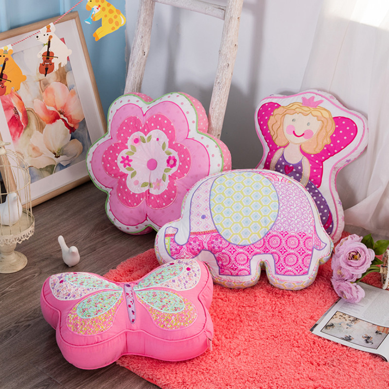 Cotton Quilt Cushion Pink Butterfly Princess Angel Shape Pillow Sweet Cartoon Sofa With Core Waist Girls Birthday Gift