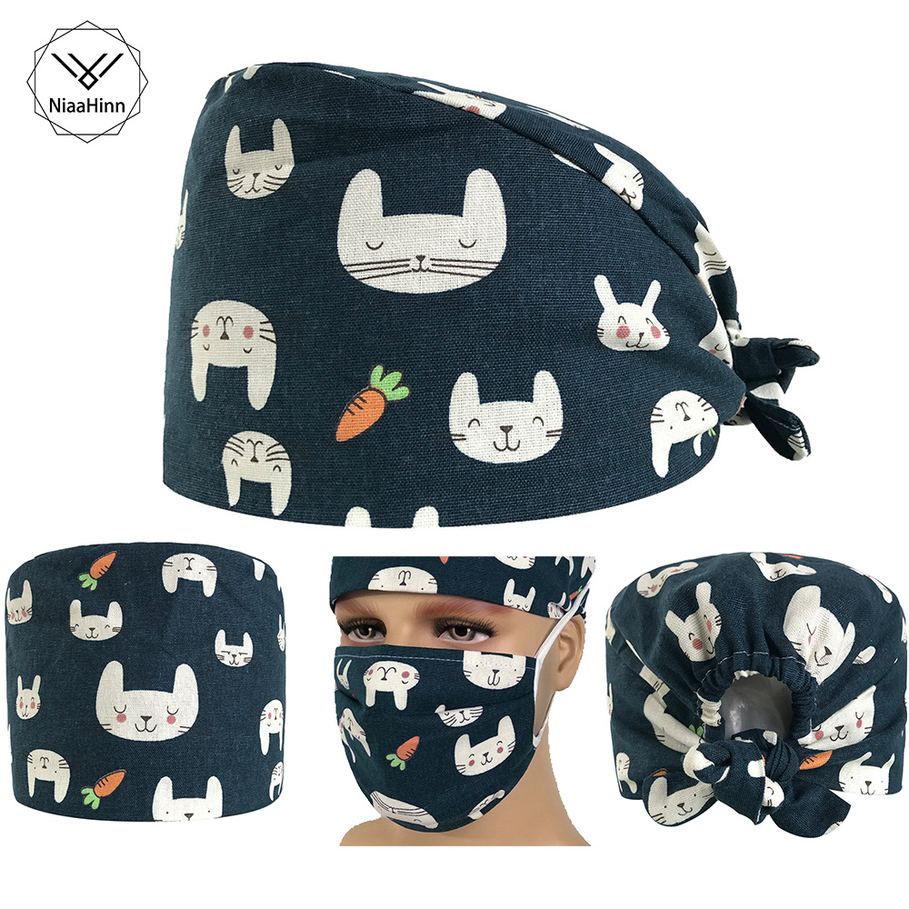 Rabbit Pet Veterinary Surgical Cap Women Men Medical Hat Chef Doctor Nurse Cotton Adjustable Sweatband Dentist Cooker Work Caps