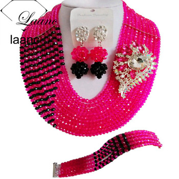 Laanc Trendy African Hot Pink and Black Beads Jewelry Set for Nigerian Wedding C10JK010
