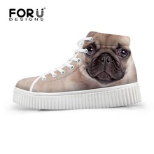 FORUDESIGNS Fashion Women Casual High Top Shoes Cute 3D Animal Pet Dog Pug Printed Platform Shoes Ladies Boots Lace-up Flats