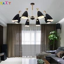KAIT Vintage Golden black Ceiling Chandeliers Multiple Rod Wrought Iron Lamp E27 Bulb