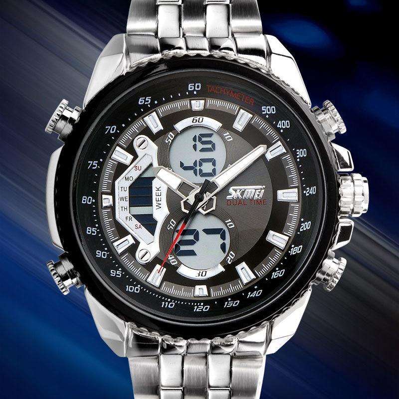 SKMEI Men Sport Digital Fashion Casual Watches Stain Steel Silver Wristwatch Led Water resistant Quartz Watch Relogio Masculino 2