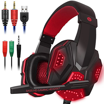 Gaming Headsets Big Headphones with Light Mic Stereo Earphones Deep Bass Noise Isolation Volume Control Gaming Headphone