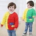 Nueva Marca Primavera Otoño Invierno Lindo Bebé Niño Niña Por la Chaqueta dos Colores Mezclados Niños de Dibujos Animados Capa Caliente Innerwear Chaqueta de la Nieve Del Bebé