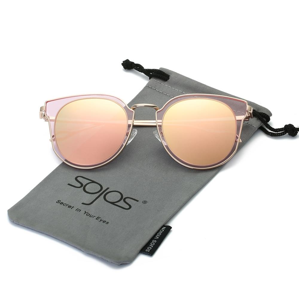 Saulesbrilles Sieviešu apaļa Vintage spoguļu lēcas UV aizsardzība Polarizēta Unisex puse vasaras brilles Oculos De Sol SojoS SJ1057