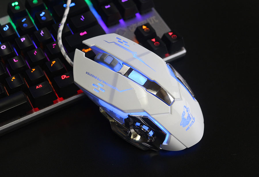 Stille Wired Gaming 6 Knopf Cool LED Optische USB Professionelle ...