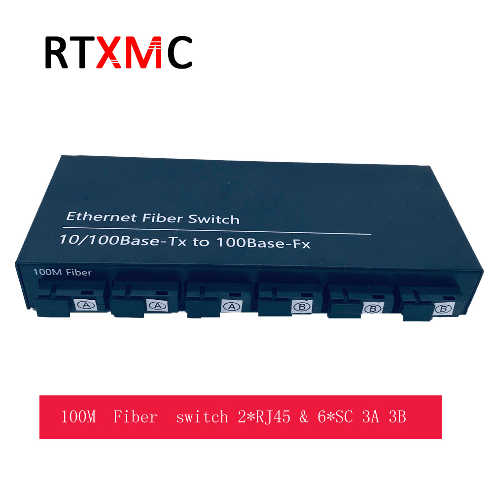 10/100M Fast Ethernet Switch Convert 25KM Fiber Optical Media Converter Single Mode 2*RJ45 & 6*SC 3A3B Fast Fiber Switch 6 Ports