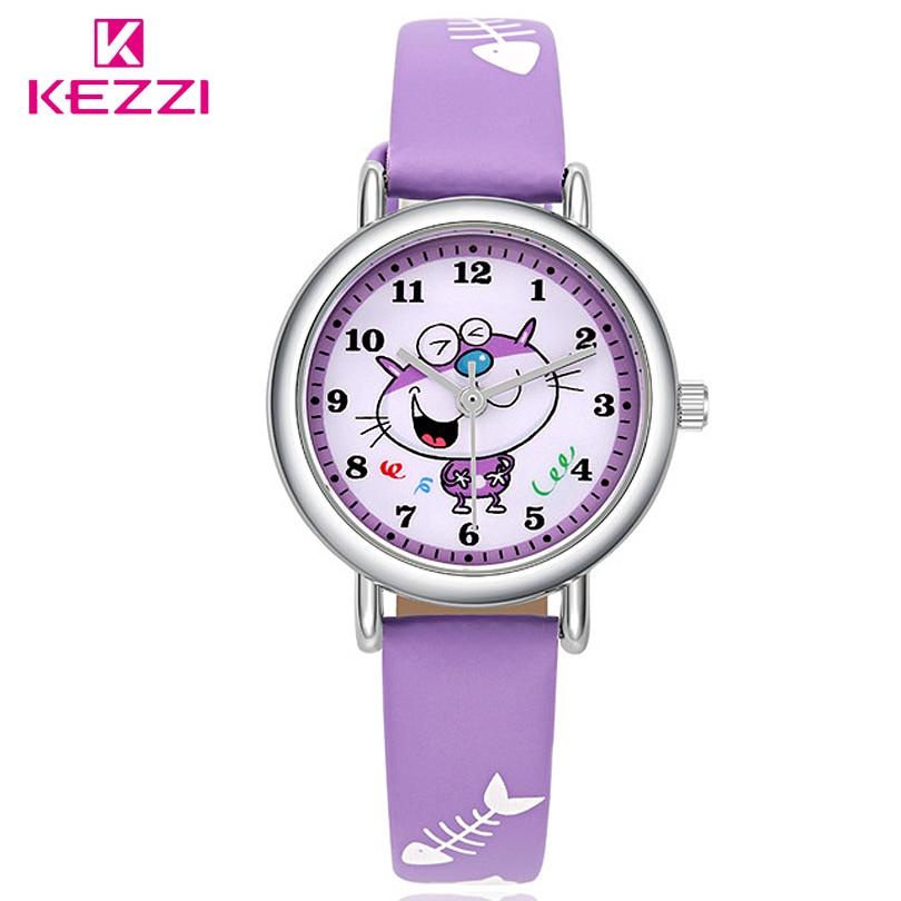 Kezzi New Cartoon Lovely Children Watch Girl Kids Quartz Watch Leather watchstrap Wristwatches