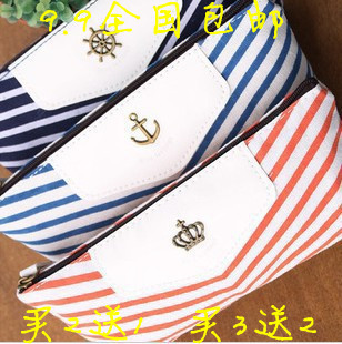 Korea stationery navy style blue pencil box storage pencil case stationery bags pen curtain