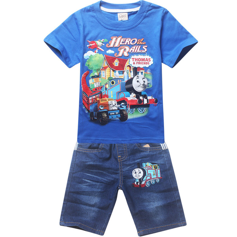 Thomas Costume Baby Boy Short Sleeve T-shirt + Pant Suit Sets Summer Children Clothing Baby Kids Boys Shorts Jeans Sports Set