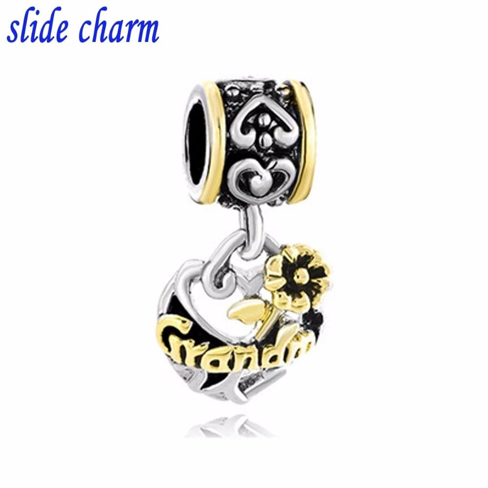 Slide Charm Free Shipping Grandma Genuine Heart Shaped Pendant Beads Fit Pandora Bracelets Charm Bracelets And Jewelry Beads Fit Pandora Fit Pandora Braceletbeads Fit Aliexpress