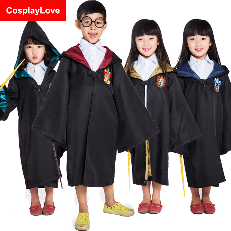 Stock Cheap Adult And Kid Harry Hufflepuff Slytherin Ravenclaw Gryffindor Robe Cloak From Harry Cosplay Costume For Halloween