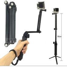 3-Way Selfie Stick Foldable Extendable Handheld Grip Arm Monopod Pole Tripod for GOPRO HERO 7/6/5/4 Session sj4000 Action Camera