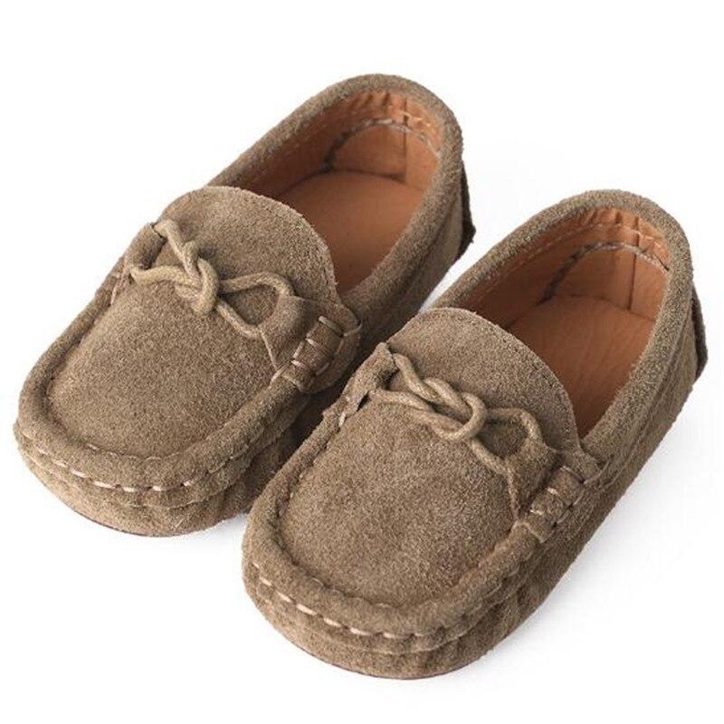 Neue Britische Art Echtes Leder Schuhe Kinder Baby Faulenzer Lässig Atmungsaktive Mokassins Kleinkind Wohnungen Kinder Schuhe Khaki 02b Clear-Cut-Textur