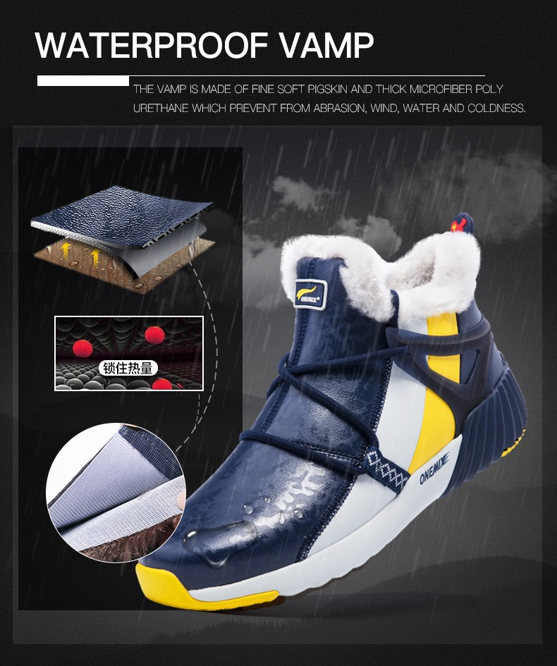 ONEMIX New Winter Men's Boots Warm Wool Sneakers Outdoor Unisex Athletic Sport Shoes Comfortable Running Shoes Sales 9