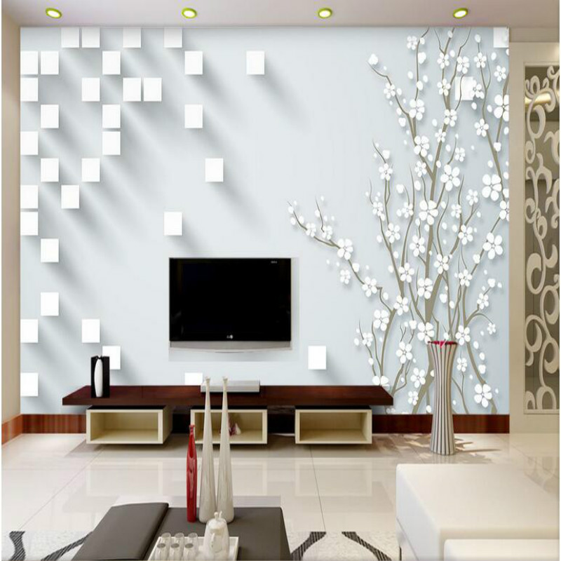 Home Improvement 3D Wallpaper for Wall 3d Decorative Wall Paper Background 3D Square Plum Blossom Wallpaper Murals brabantia мусорный бак с педалью newicon 30 л 67 5х30х34 см серый металлик