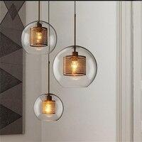 Loft Industrial Retro Pendant Lights Metallic Grid Glass Ball Hanging Lamp Living Room Modern Home Decor Suspension Luminaria
