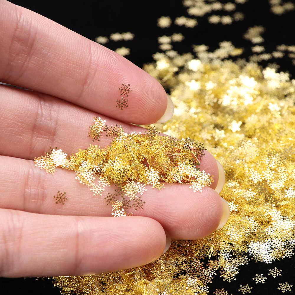 1 BOX Aushöhlen Gold Nagel Glitter Pailletten Schnee Flakes Gemischt Design Dekorationen für Nagel Kunst Pillette Nagel Zubehör LA889-1