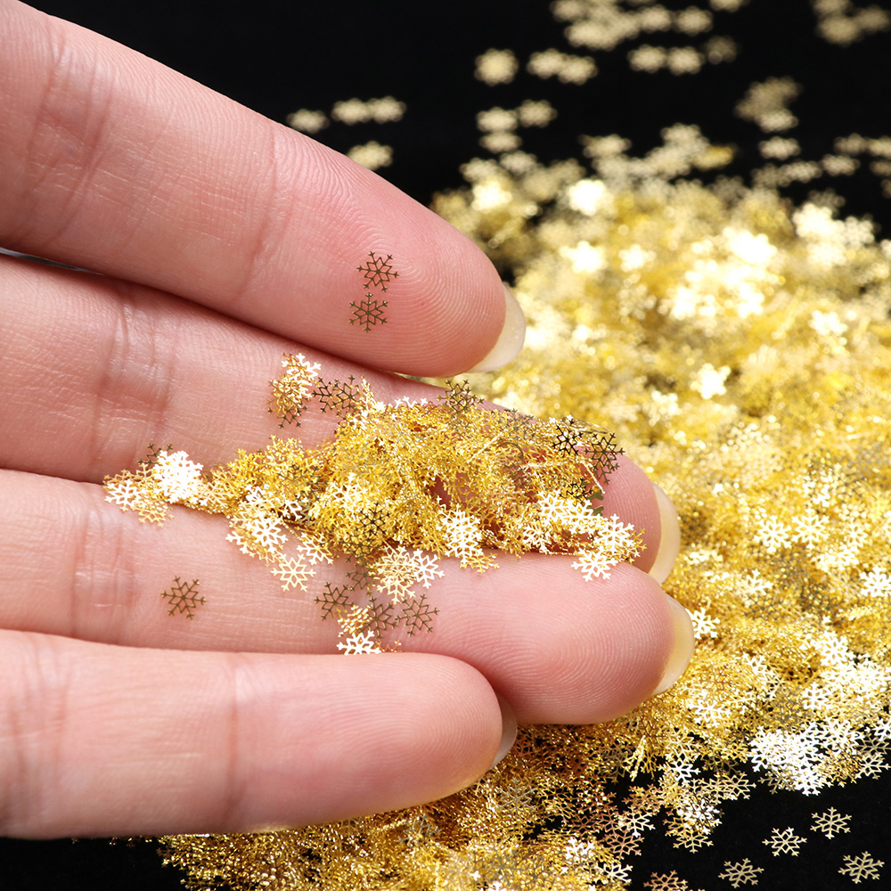 Image 3 - 1 BOX Hollow Out Gold Nail Glitter Sequins Snow Flakes Mixed Design Decorations for Nail Arts Pillette Nail Accessories LA889 1-in Rhinestones & Decorations from Beauty & Health