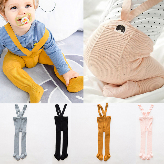 0cc899258b1 Solid Color Baby Boy Girl Tights Newborn Cotton High Waist Nursing Navel Suspender  Pantyhose Baby Autumn