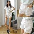 La nueva primavera y el verano 2016 de moda de Corea pantalones vaqueros de cintura Pantalones Cortos Blancos pantalones flacos del Tamaño suelta y cómoda