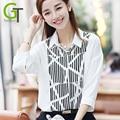 2017 Novas Camisas Das Mulheres Do Vintage Blusas de Impressão Faixa Branca Camisa Blusa 3 Trimestre Blusa Da Moda Chiffon blusas feminina Femme