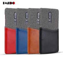 IMIDO Luxury Leather PU Phone Case For One Plus 6 Silicon TPU Cloth Wallet Card Back Cover Fundas Coque Capa