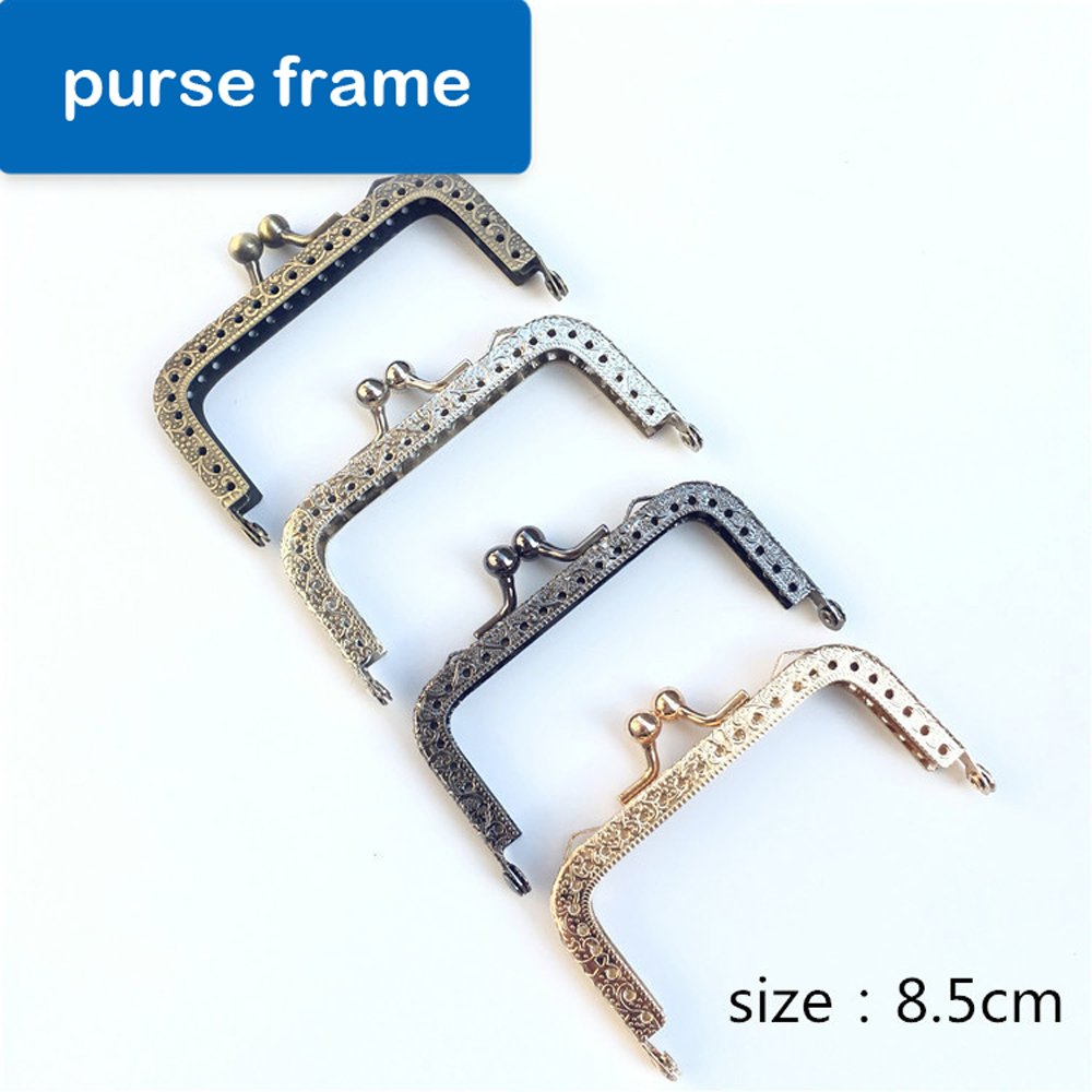 8.5cm DIY Women Coin Bag Metal Clasp Purse Frame Knurling Straight Edge Kiss Buckle 10pcs/lot