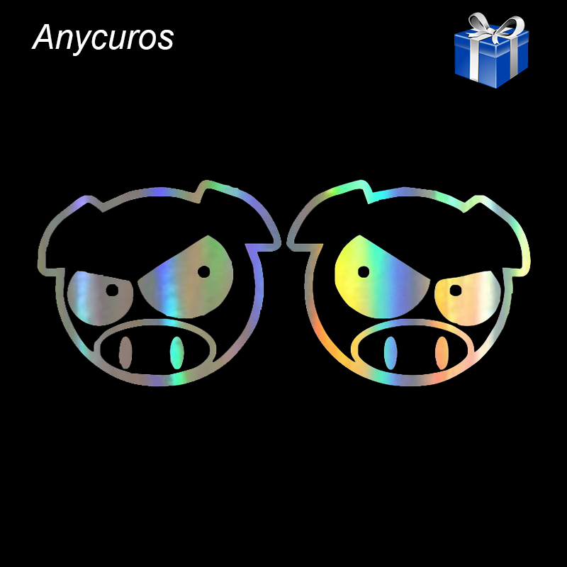 Anycuros Evil Rally Pigs Cartoon Rearview mirror Decals Stickers 11.3cm*9.1cm projector car door lights