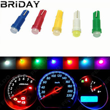 10PCS T5 COB Dashboard Warning Indicator Instrument Gauge Lamps  ceramic Led Wedge Car  Auto lights Bulb 12V white red yellow