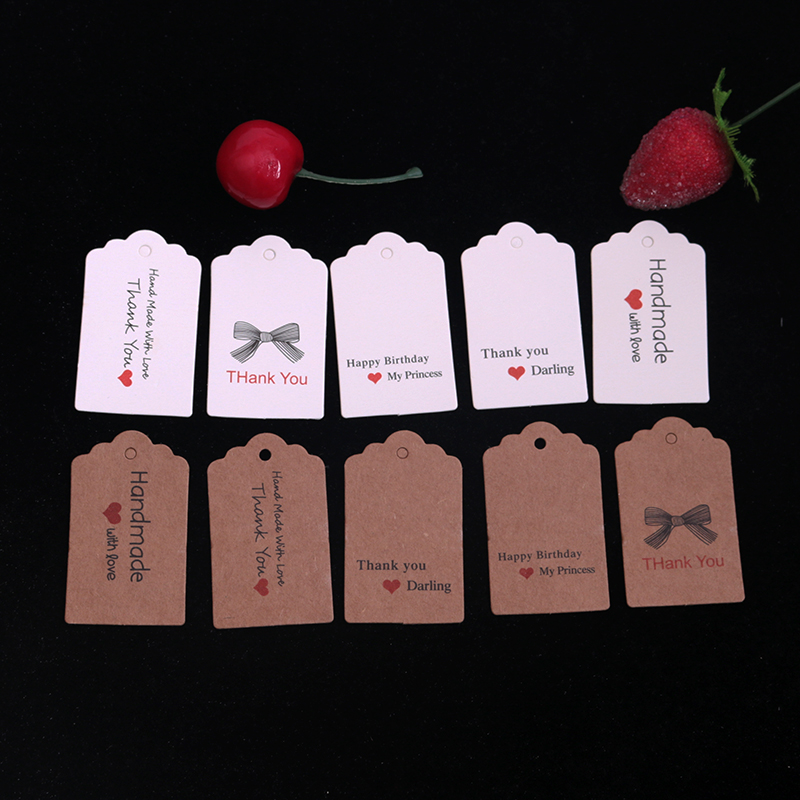 100pcs Kraft Paper Gift Tags 3x5cm Handmade DIY Price Tags Baking Bags Packing Labels For Jewelry Flowers Cosmetics Drink Bottle
