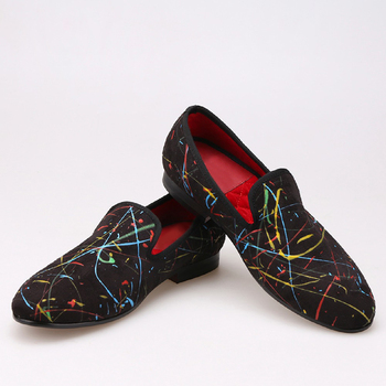 New handmade graffiti men loafers fashion slip on men casual shoes British style smoking slippers mens leather dress shoes