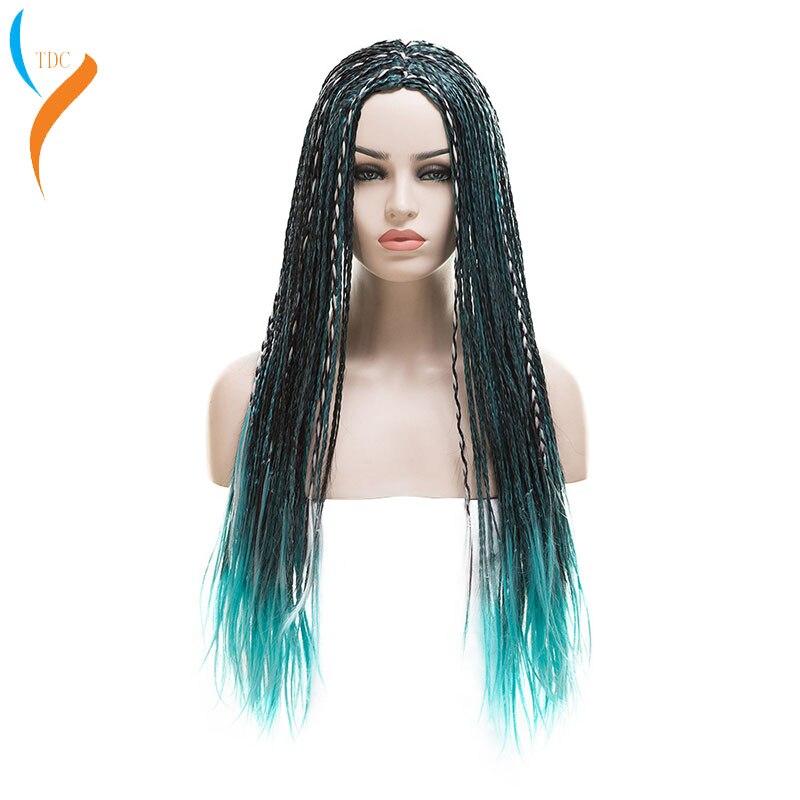 3 тона синий серый микс черный Ума косы длинные прямые плетеные потомки 2 ума синтетический парик для косплея для Хэллоуина вечерние парик