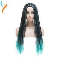3 Tones Blue Grey Mix Black Uma Braids Long Straight Braided Descendants 2 Uma Synthetic Cosplay Wig For Halloween Party Wig