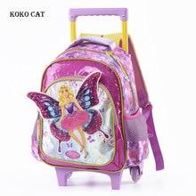 Kids School Trolley Bag Orthopedic Satchel for Girls Elegant Angel Children Backpack With Wheels Student Bookbag Mochila стоимость