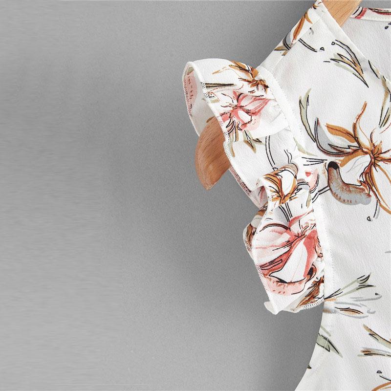 Floral Print White Blouses 7