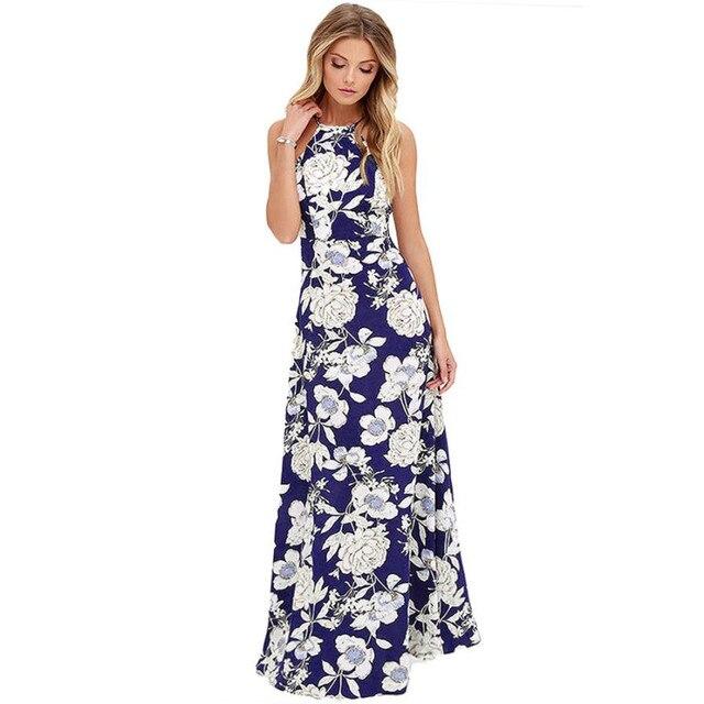 38f7bf62a13 2018 Sexy Women Maxi Boho Dress Halter Neck Floral Print Sleeveless Summer  Dress Holiday Long Beach Dress Vestidos Party Dresses