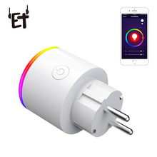 ET Smart Plug Wifi Socket With Switch Phone APP Voice Remote Control Monitor Smart Timing Switch Built-in LED Scene Light цена и фото