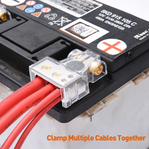 Image 5 - MICTUNING 2 stücke Auto Batterie Terminal Anschlüsse Kit 2/4/8/10 AWG Positive Negative Auto Batterie post Clamp w/2 Klare Abdeckungen Distanzscheiben