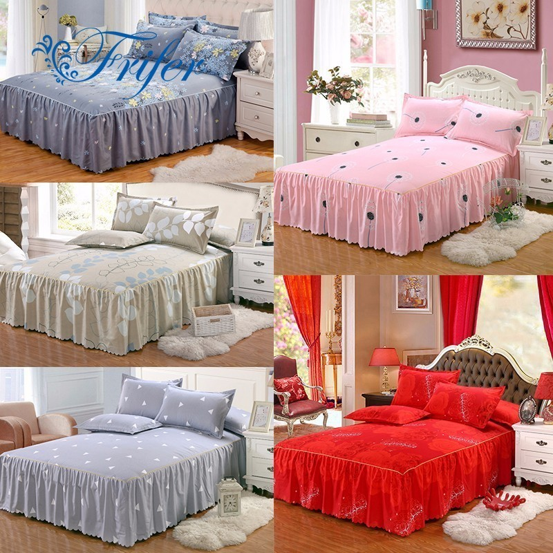 2018 Bed skirt High quality cotton Polyester Purple flower Bedding Bed Skirt Bed Cover Bedspread Pastoral flower Bed Decor
