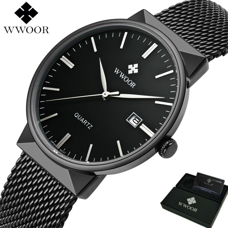 Top Brand Luxury Men Waterproof Sports Watches Men Quartz Date Clock Male Black Strap Casual Wrist Watch WWOOR With Gift Box men watches top brand wwoor date clock male waterproof quartz watch men silver steel mesh strap luxury casual sports wrist watch