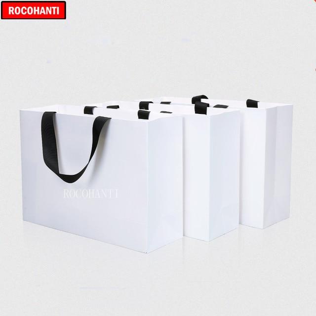 Sac de papier blanc personnalisé 50X petit sac cadeau sacs à provisions poignée de corde épaisse sac de vêtements LOGO imprimé personnalisé