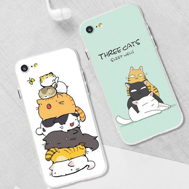 Cartoon Mobile Phone Shell Cute Cat Creative Couple Mobile Phone Case For Iphone6/6s/6plus/6s Plus/7/7 Plus/8/8 Plus
