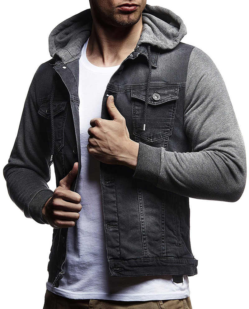 9541ef80d481 ... New men s denim jackets Autumn Winter mens Knitted sleeves Stitching  Hooded Jeans coats male Solid color ...
