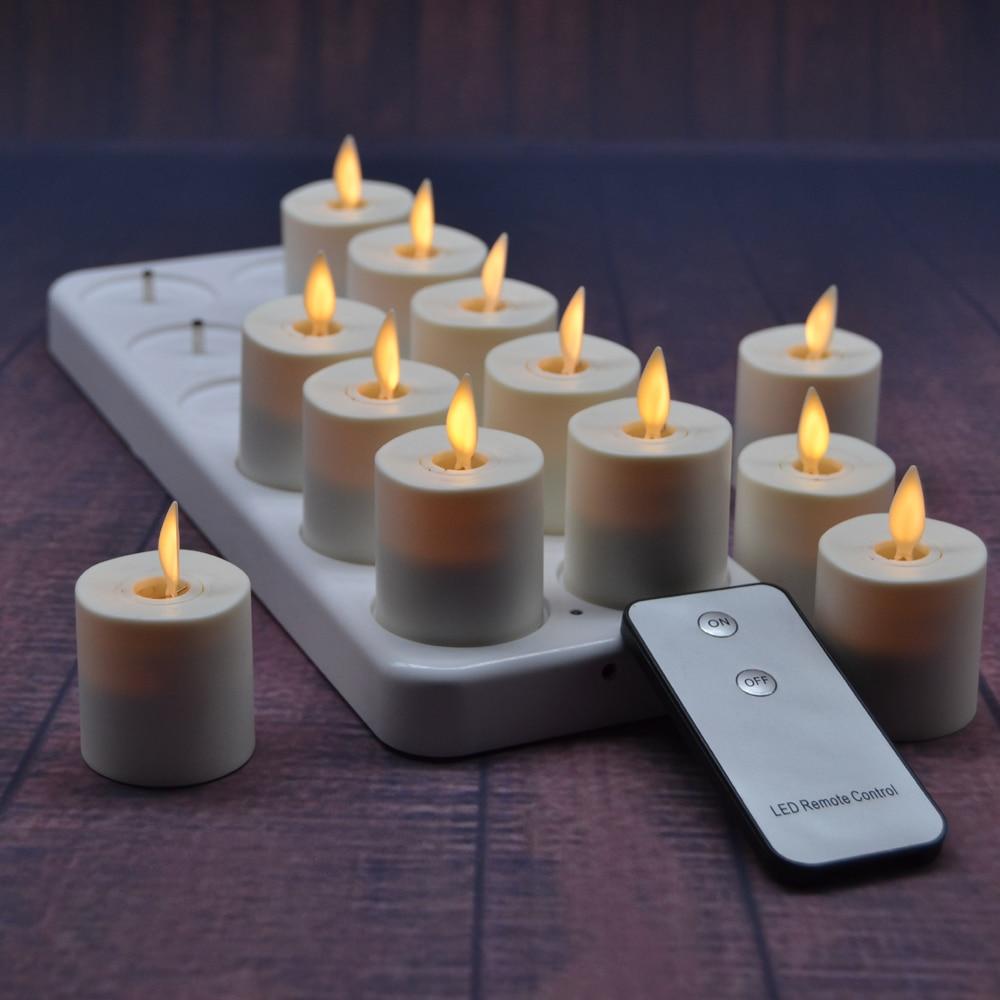 Luminara 1.5 Pollice Avorio Inodore Senza Fiamma Tè Leggero Tealight Candela Set di 12 Fiamma Realistico LED Candela con Timer