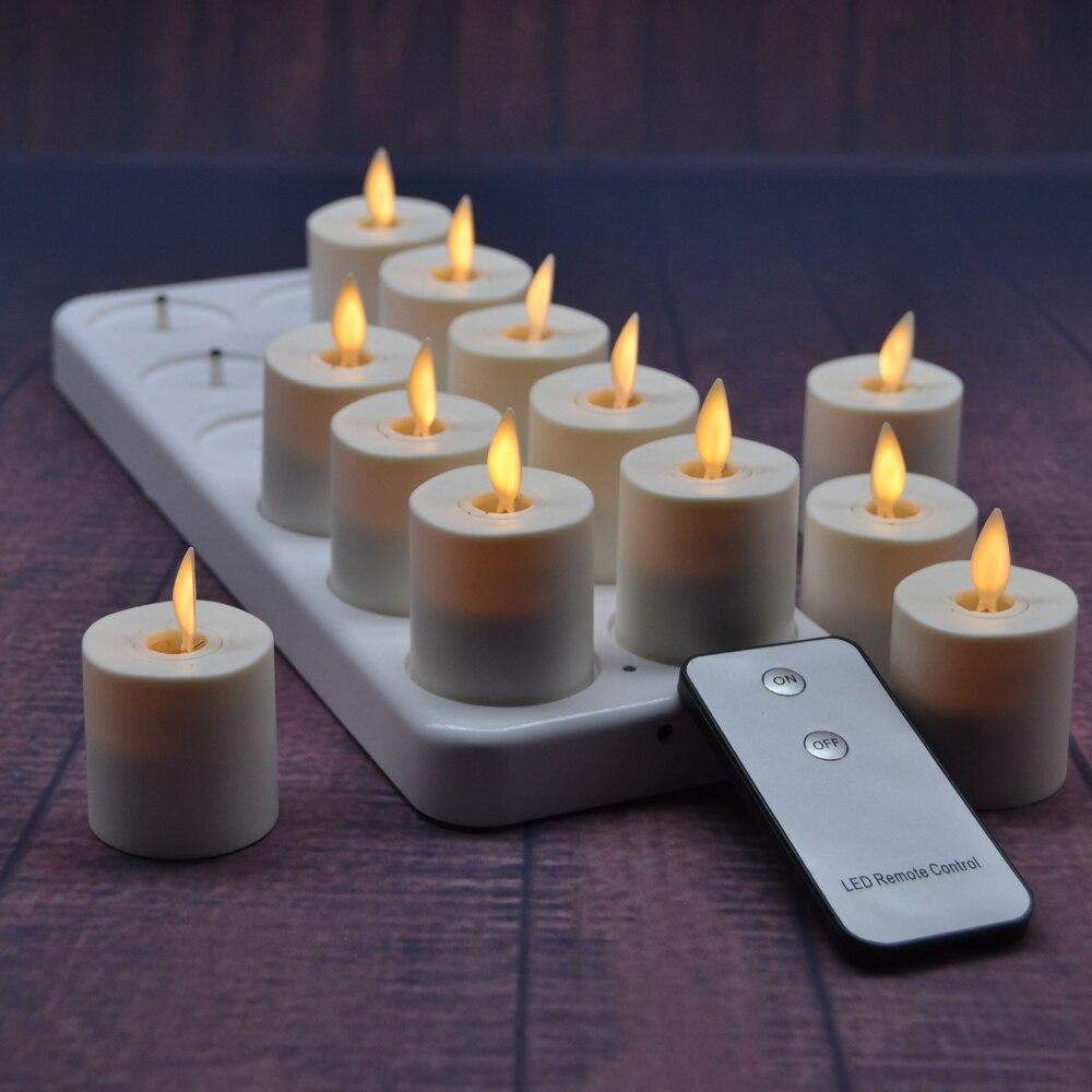 Luminara 1.5 pouce Ivoire Non Parfumé Sans Flamme LED Thé Lumière Danse Mèche Photophore Bougie 12 pcs Réaliste Lumière Bougie avec Minuterie