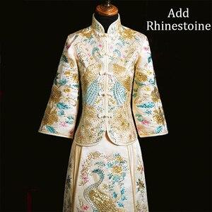 Image 5 - Voeg Strass Suzhou Embrpidery Qipao Vrouwen Bruid Trouwjurk Prachtige Klassieke Oude Huwelijk Pak Lange Vintage Knop